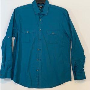 Alfani L teal shirt long adjustable sleeves